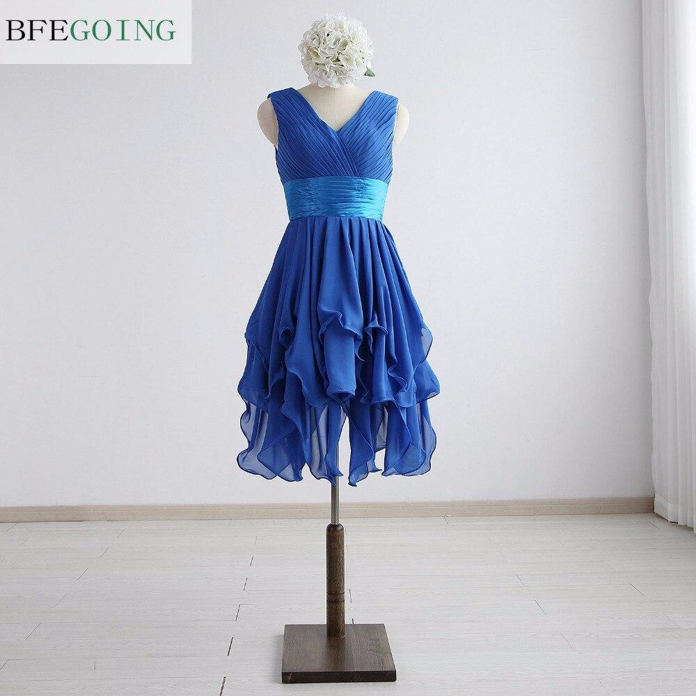 Weddings & Events Alert Blue Chiffon A-line Knee-length Cocktail Dress V-neck Sleeveless Real/original Photos Custom Made Quality First
