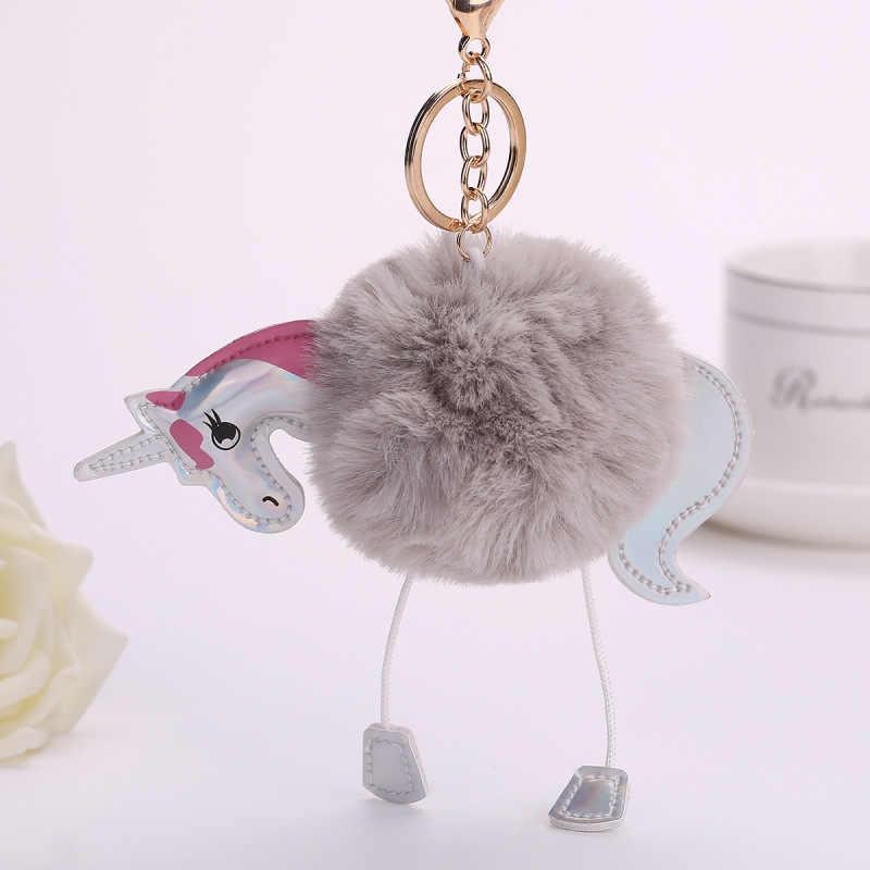 Encantador unicornio mullido llaveros bolsa de caballo colgante de piel de conejo Artificial llavero soporte de anillo para coche