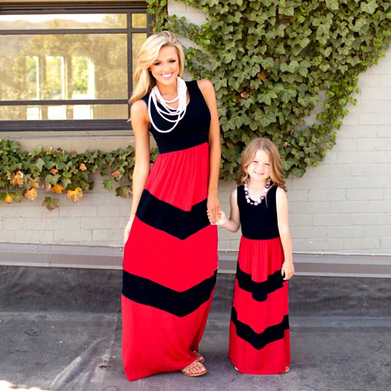 MVUPP Family Matching Outfits mommy and me Striped sweet striped stitching sleeve baby girl mom casual maxi sundresses