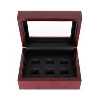 Hurtownie Luxury Handmade 2/3/4/5/6 Otwory Drewniane Pierścień Box dla Mistrzostwa Pierścionki Biżuteria Display Box Czerwony Drewniane Wyświetlacz