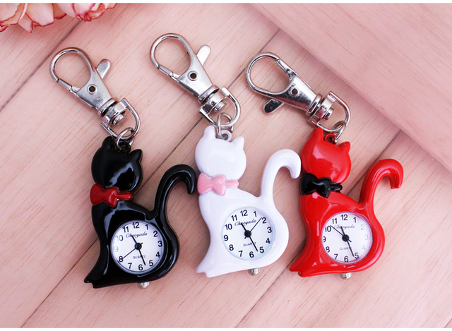 New Fashion red white Elegent Lovely Cat with Mirror Case Quartz Pocket Watch An