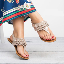 New Women Sandals Flip Flops Flats Summer Shoes Woman Thong Beach Causal Shoes Ladies Ruffle Flat Sandalias Mujer 2019 new summer leisure leaf women flip flops shoes flame beach ladies flats sandals silver red black