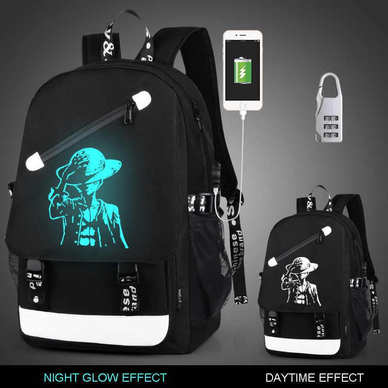 Koreański mody młodzieży plecak czarny Man's USB Luminous plecak podróży rozrywka Notebook szkoła torba dla nastolatków Anti-theft Batoh