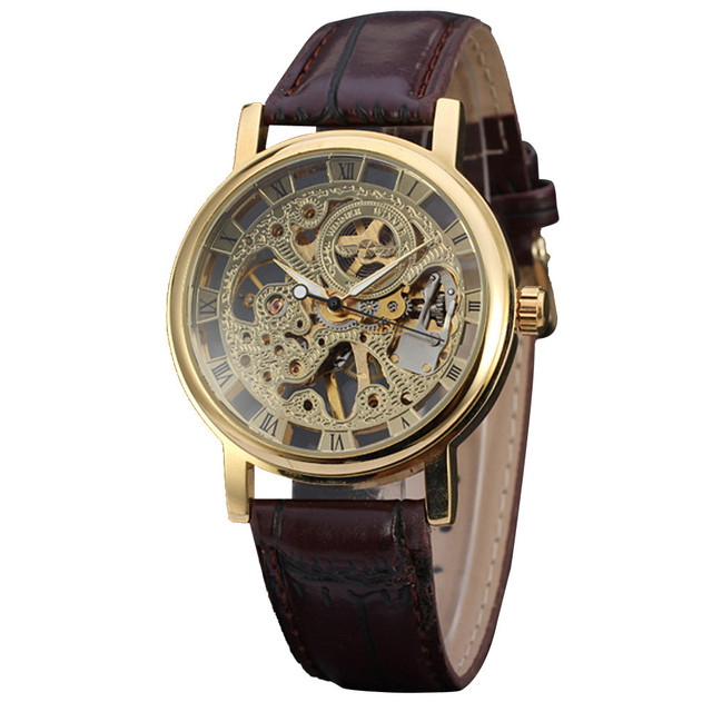 Luxury Watches Men Classic Brown Leather Dial Skeleton Sport Watches Army Wrist Mechanical Watch relogio masculino