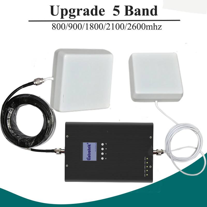 Lintratek Five Band Cell Phone Signal Booster 2G 3G 4G 800 900 1800 2100 2600mhz Cellular Signal Repeater Amplifier Set #28