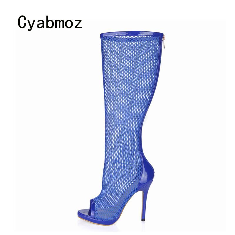 Cyabmoz Platform Boots Knee High Heels Women Shoes Woman Peep Toe Breathable Zapatillas Botas Zapatos Mujer Ladies Party Shoes 2017 fashion winter platform boots knee high heels women shoes woman zapatillas botas zapatos mujer zip for ladies party shoes
