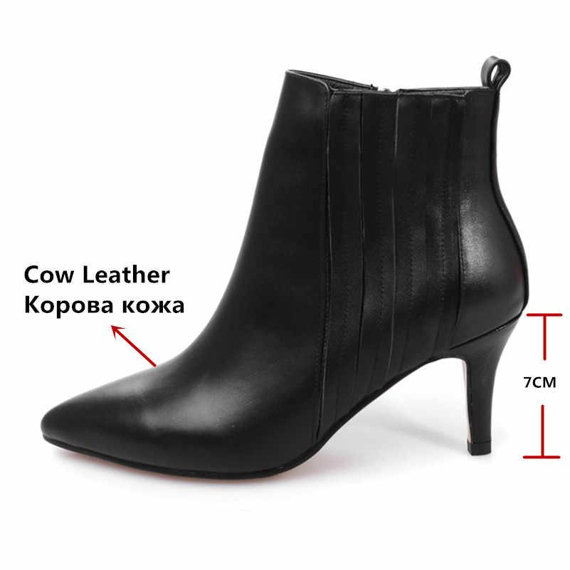 Женские ботильоны из натуральной кожи FEDONAS, сиреневые полусапожки на высоких каблуках с острым носком, теплая обувь на осень и зиму 2019