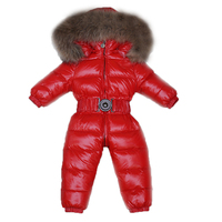 2018 Children Jumpsuit Baby Winter Duck Down Rompers Raccoon Fur Girl Boy Overall Snowsuit Coat Warm Kid Jumpsuit Baby Outerwear