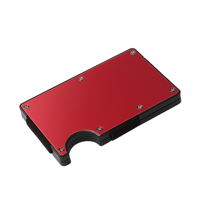 Mini slim wallet with money clip fashion business credit card ID holder solid anti-chief case protector #YL5 2