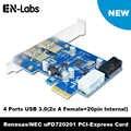En-מעבדות 4 יציאת PCIE PCI-e ל-usb 3.0 (2 x סוג + 20 פין פנימי) הרחבת כרטיס רכזת PCI Express כרטיס מתאם w/Molex כוח