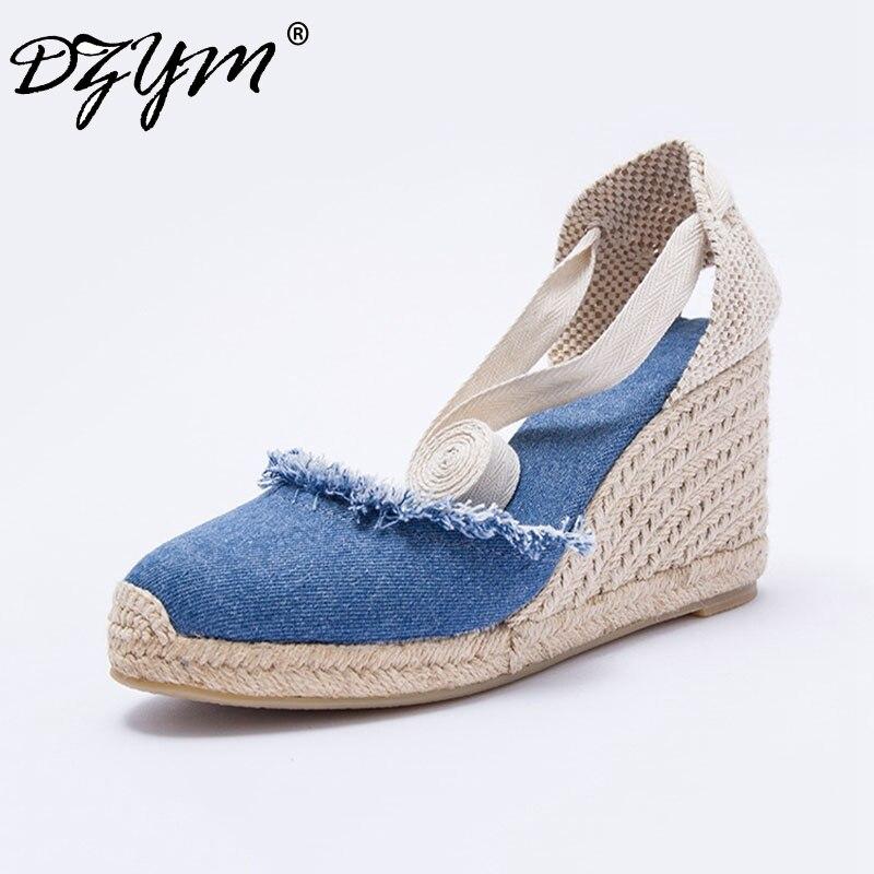 DZYM 2019 Summer Denim Women Wedge Sandals Ankle Strap Fisherman Shoes Super High Heels Espadrilles Linen