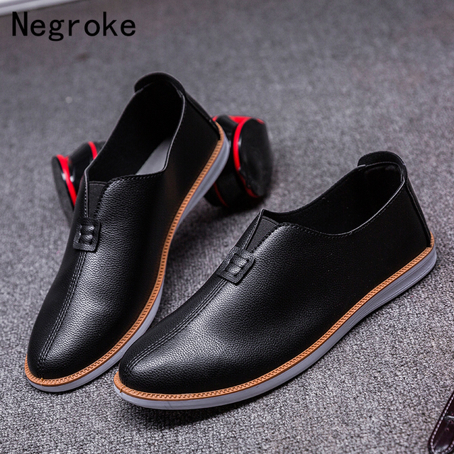 Nouvelles Arrivées a24bf 2a134 US $14.88 25% OFF|Black White Leather Casual Shoes Men Flat Slip On Loafers  High Quality Mocassin Chaussure Homme Comfy Moccasin Zapatos De Hombre-in  ...