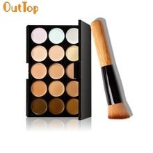 OutTop LBC модный хит! 15 цветов макияж Палетка для контуринга с консилером+ макияж кисти je9 Прямая поставка ping180315 Прямая поставка