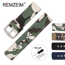 Camouflage Military Canvas Strap Watch Bands 18mm 20mm 22mm 24mm Women