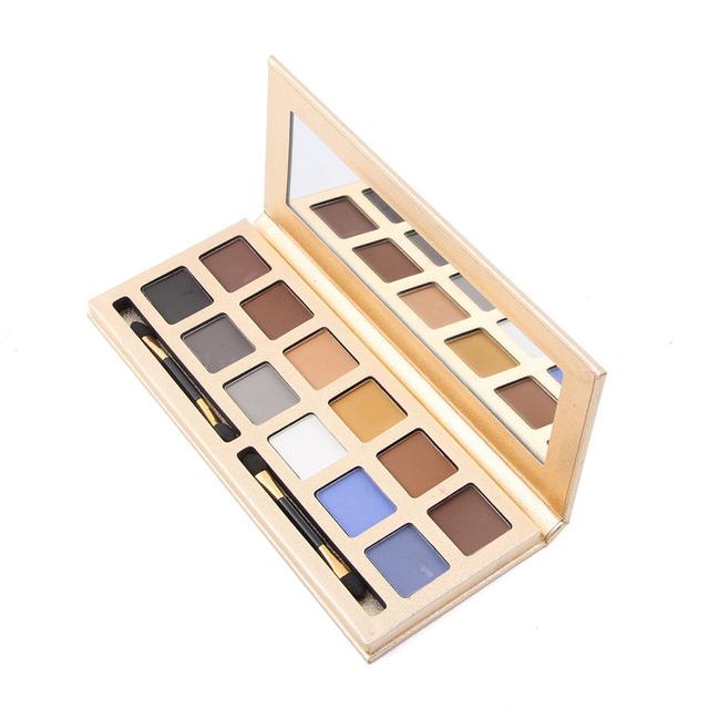 Nuevo 12 Color de Ojos Mate Paleta de sombra de Ojos Multicolor Maquiagem Belleza Cosmética Set de Maquillaje Con El Cepillo