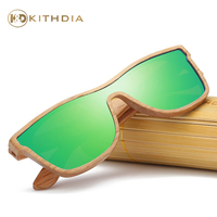 Kithdia Natural Wood Sunglasses Polarized Green Mirror Lens With Bamboo Box and Support Drop Shipping / Provide Pictures #KD205