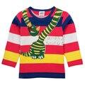 Nova 2015 kids wear hot projeto da listra impresso engraçado dos desenhos animados padrão de caracteres outono camisa longa da luva t para 3-8A bebê menino