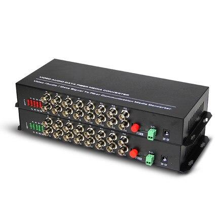 1pair 16 channel video data fiber optic media converter,16v1d,RS485 FC / Single mode