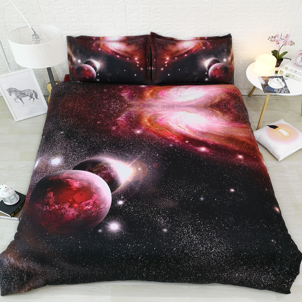 Galaxy Cosmic Stars Red Fitted Sheet Set Double//Queen//King Size Bed Sheets Linen