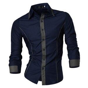 Image 2 - Jeansian אביב סתיו תכונות חולצות גברים מקרית ג ינס חולצה הגעה חדשה ארוך שרוול מקרית Slim Fit זכר חולצות 8015