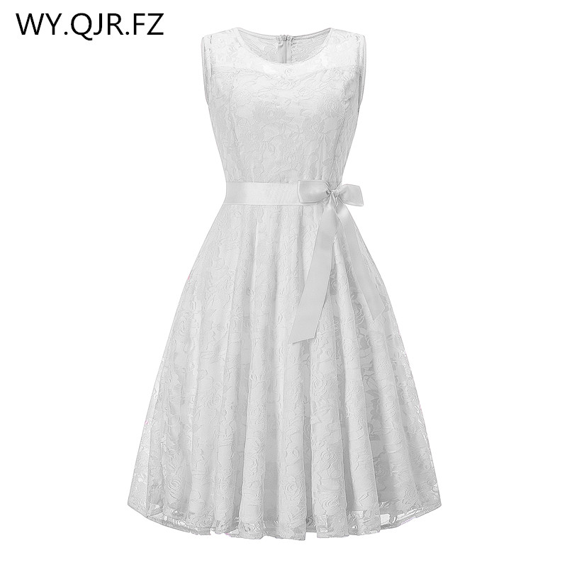 OML503B#round Collar Sleeveless White Bow Bridesmaid Dresses Wedding Party Dress 2019 Prom Gown Ladies Girls Fashion Wholesale
