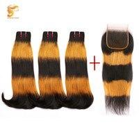 AOSUN волос Ombre человеческих волос бразильские дважды обращается Фуми пучки волос с закрытием кружева 3 тон Фуми дважды обращается пышные прям