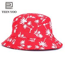 Fashion Bucket Hat Women Summer Palm Coconut Tree Sea Beach Printed Floppy Foldable Hats Outdoor Field Camping TEEN YOO