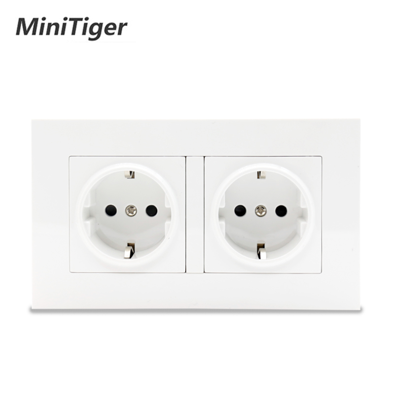 Minitiger High Quality Wall Power Dual Socket Plug Grounded, 16A EU Standard Electrical Double Outlet 146 Mm * 86 Mm