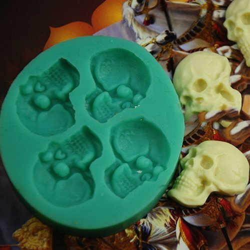 3D גולגולת ראש סיליקון יצק עוגת עובש שוקולד ליל כל הקדושים המפלגה DIY כלים