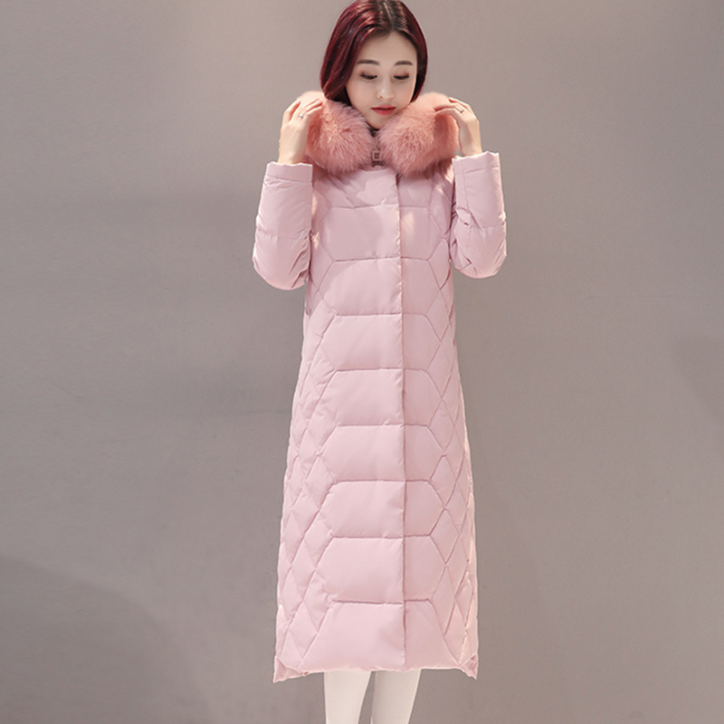 Women Long   Down   Jackets Casual Hooded Fox Fur Collar Thick Warm   Down     Coats   Winter Female White Duck   Down   Jackets FP1700