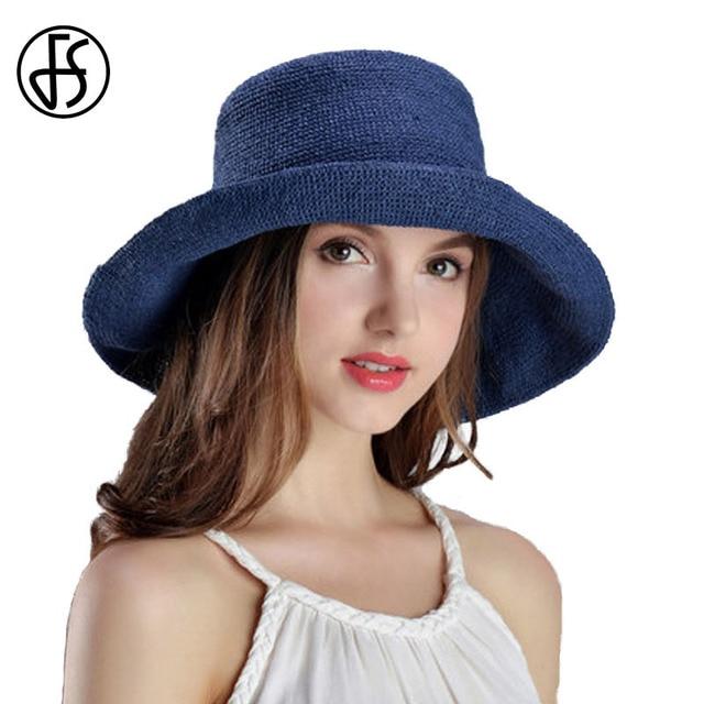 FS paja Sombreros de verano para las mujeres de Ala Ancha Beach Floppy  sombrero de Sun 2e85c8b7a24