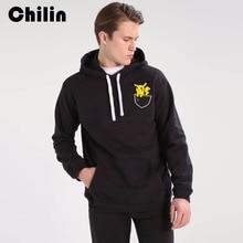Фотография Chilin Pikachu Pocket Hoodie Sweatshirts Mens Gyms Wear Skateboard Pullover Hoodies Men Cotton Casual Hoody Sudaderas Hombre
