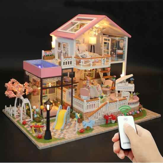 13846 DIY House With Furniture wooden Miniature Villa Model Building Gift Decor Toy For Children Friends -Sweet Words