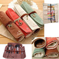 Girl Vintage Design Cute Retro Bandage Canvas Pencil Holder Wrap RollUp Stationery Pen Brush Case Pouch Bag Makeup Tool Kit Gift