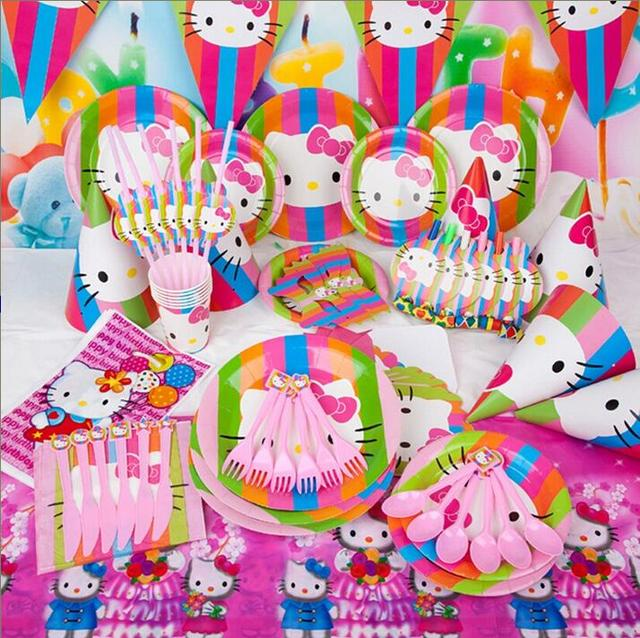 24c43b1d6 Luxury 84pcs/set 6Kids Hello Kitty kids birthday party decoration,girl  event party supplies favor items for children party