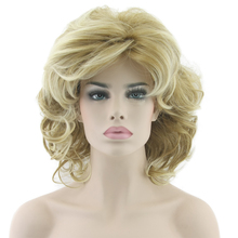 Blonde Wavy Short Wigs Cosplay Wig Synthetic Heat Resistance Hair Ombre Wigs for Women