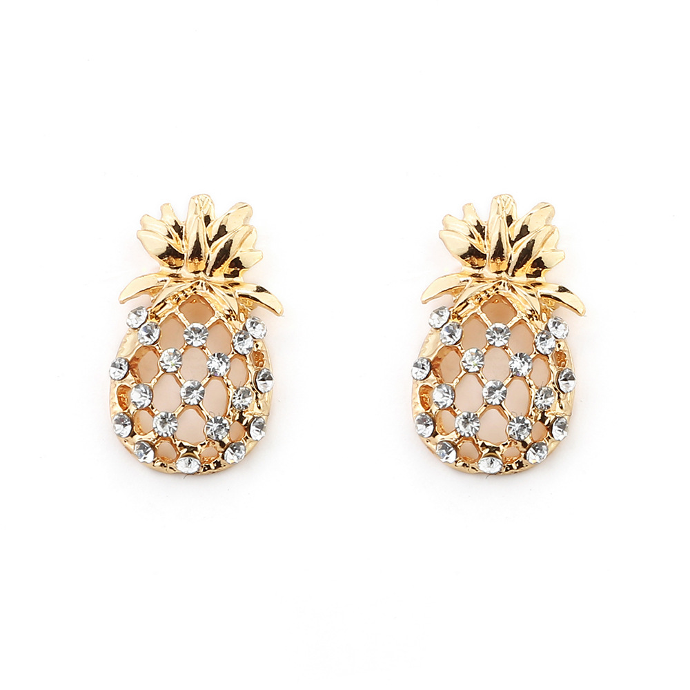 Fashion Pineapple Stud Earring Jewelry For Women Fruit Hollow Alloy  Rhinestone Gold Color Earring Accessories(