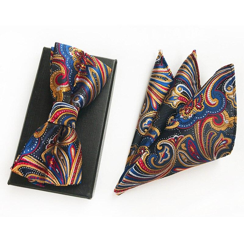 New Check 100% Silk Jacquard Woven Men Polka Dot Plaid Butterfly Self Bow Tie Bowtie Pocket Square Handkerchief Hanky Suit Set