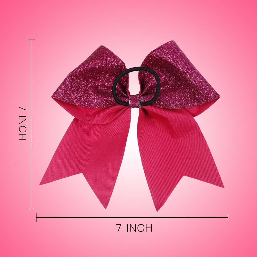 Breast Cancer Pink Cheer Bow Glitter Printed Hair Bow With Elastic Hair Ropes High Quality Handmade For Girls Hair Accessories in Hair Accessories from Mother Kids