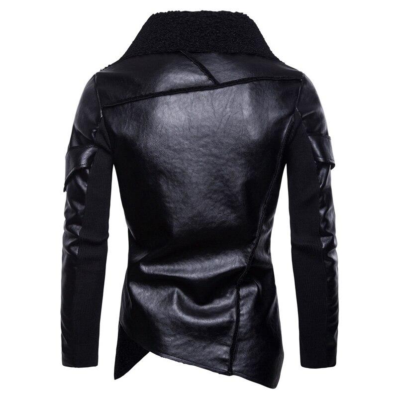 Nouveau irrégulière ourlet velours cuir veste hommes 2018 automne nouveau mâle Moto Biker Faux cuir veste manteau Punk Style Jaqueta De Couro - 3