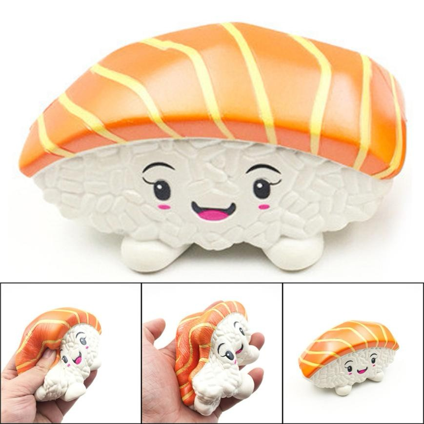 1 pcs kids hobbies toys 14cm Squishies Sushi Salmon Cake Charm Slow Rising Squeeze Stress Reliever Toys squash anti-stress toy