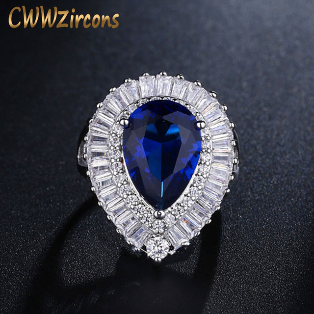 CWWZircons Adjustable Size Fashion Women Wedding Rings High Quality Pear Shape Dark Blue Crystal Ring With CZ Stones R097