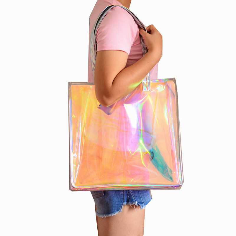 Beach Transparent Bag Woman Waterproof Laser Clear Tote Bags Summer Big Top-handle Bags Laser Holographic Jelly Handbag
