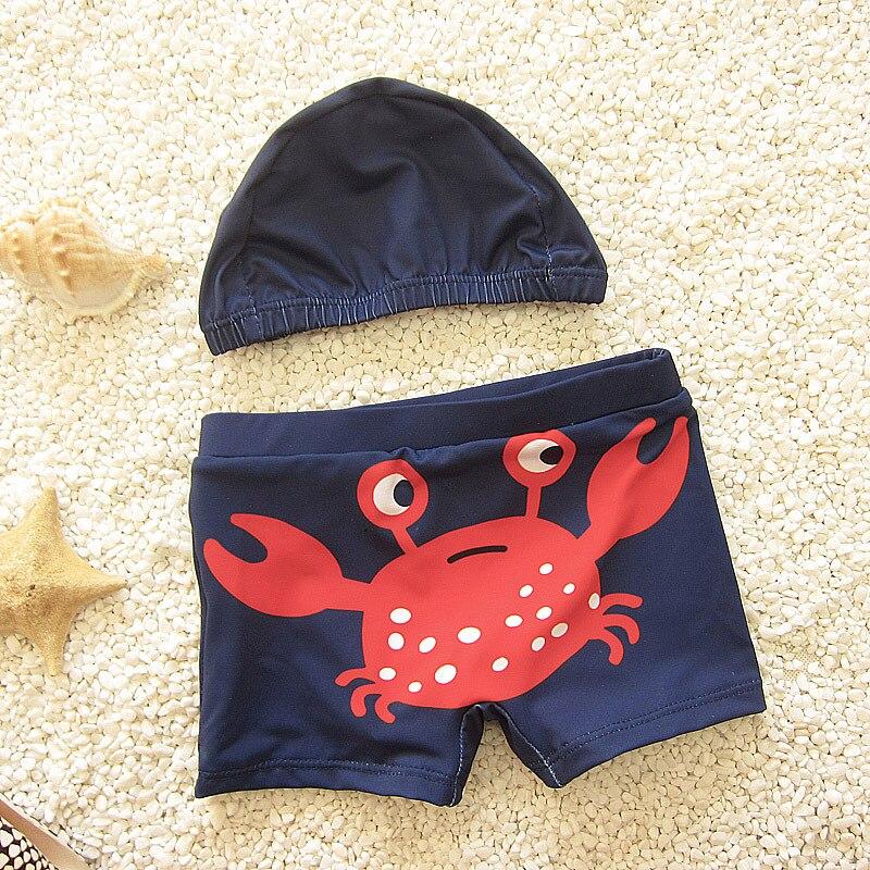 Милые для маленьких мальчиков купальные шорты дети купальники W/кепки печатных Todders купальники пляжные купальные костюмы DEO - Цвет: Red crab