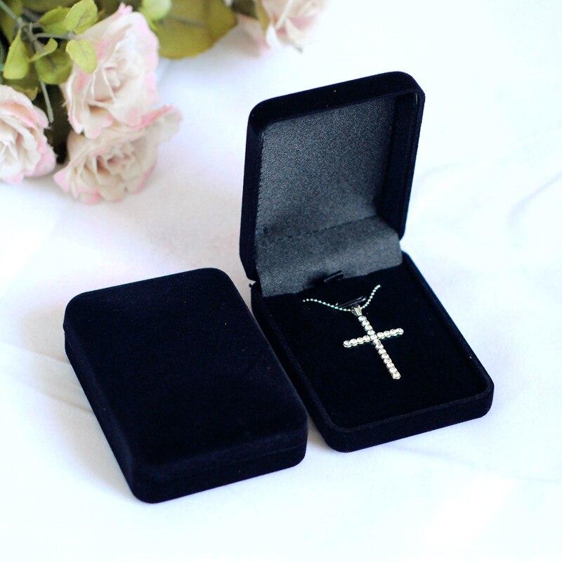 High Quality 12pcs Black Color Square Shape Velvet Jewelry Box Widget Box Necklace Box Black Velvet Necklace Display Box