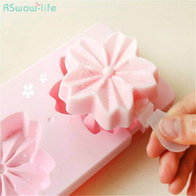 Creative Sakura Self-Made Ice-Lolly Mould DIY Refrigerator Ice-Lolly Box Cherry Flower Mould Kitchen Tool Fun PP Ice-Bar Makers new brand greenure gre1002 refrigerator ice