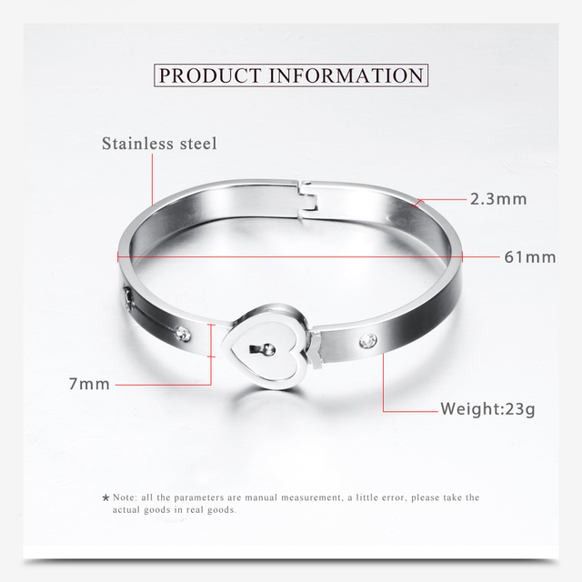 Fashion A Couple Jewelry Sets For Lovers Stainless Steel Love Heart Lock Bracelets Bangles Key Pendant Necklace Couples Set 3