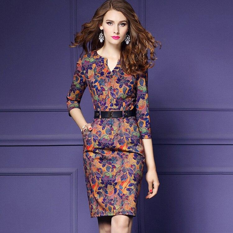 Mujeres Otoño Invierno elegante vintage Vestidos imprimir tres ...