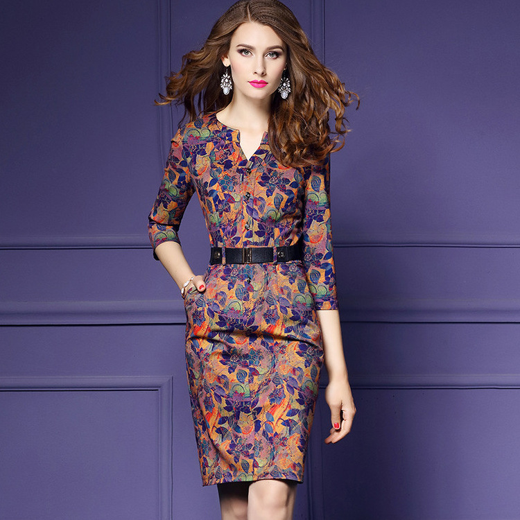 Women Autumn Winter Elegant Vintage Dresses Print Three Quarter Sleeve Dress V Neck Fashion Sexy Party Dress Plus Size S XXXL