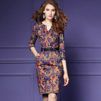 Women Autumn Winter Elegant Vintage Dresses Print Three Quarter Sleeve Dress V Neck Fashion Sexy Party Dress Plus Size S XXXL